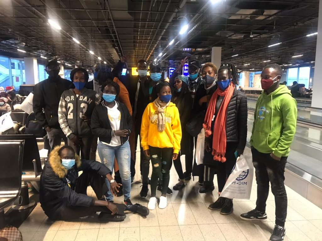 Some of the students en route to Canada at the Amsterdam Airport.